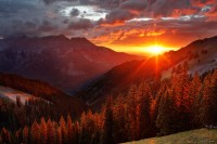sunset, San Juan Mountains, Colorado, Ridgway, Ouray, red, august, pine, Uncompahgre, sun, clouds