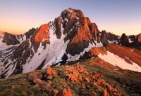 Mt. Sneffels, San Juan Mountains, Colorado, sunset, alpenglow, June, sneffels, orange, rugged, 14er