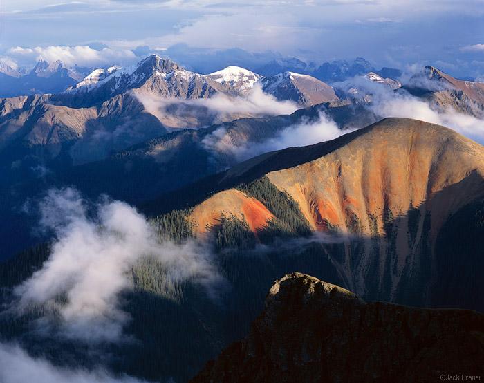 Sultan Mountain, Grenadier Range, Silverton, San Juan Mountains, Colorado, large format, 4x5, San Juans, orange, blue, clouds, bear mountain, needles range, fall, september, photo