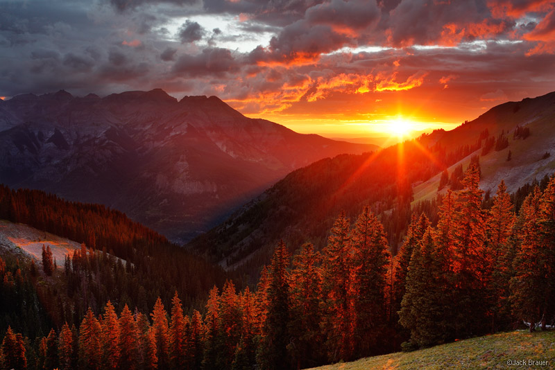 sunset, San Juan Mountains, Colorado, Ridgway, Ouray, red, august, pine, Uncompahgre, sun, clouds, photo