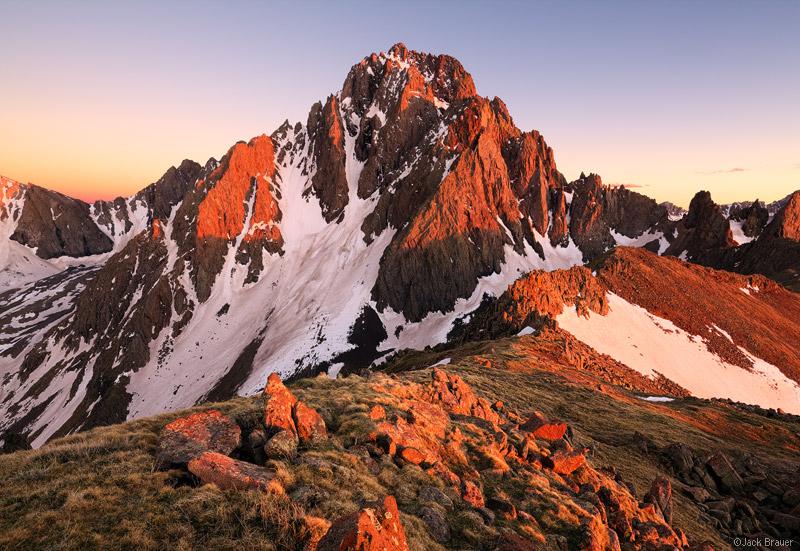 Mt. Sneffels, San Juan Mountains, Colorado, sunset, alpenglow, June, sneffels, orange, rugged, 14er, photo